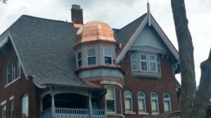 home with copper roofing