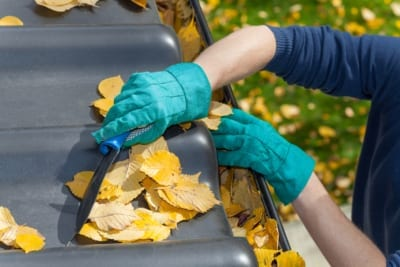 man clearing leaves from roof and gutters