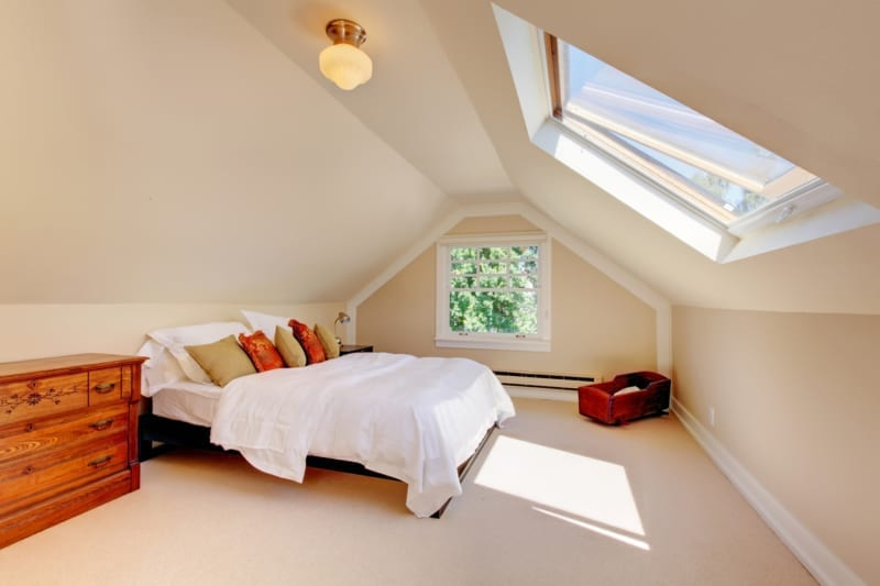 skylight installed in modern attic bedroom
