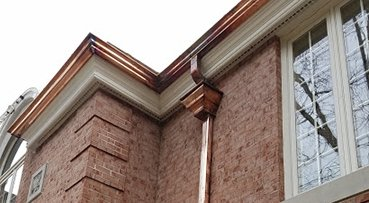 copper gutters on historic home